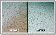 Ceilcote ceiling spraying before and after