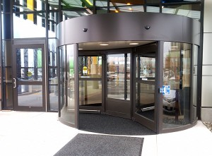 revolving door spray painting