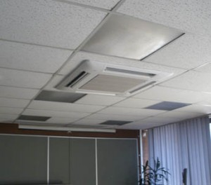 this is a photo of an air con cassette sprayed by ceilcote
