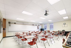 School suspended ceilings spray painted by ceilcote