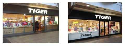 Tiger Store 45 Ealing Broadway Shopping Centre London. Before and after shopfront spraying works by Ceilcote.com