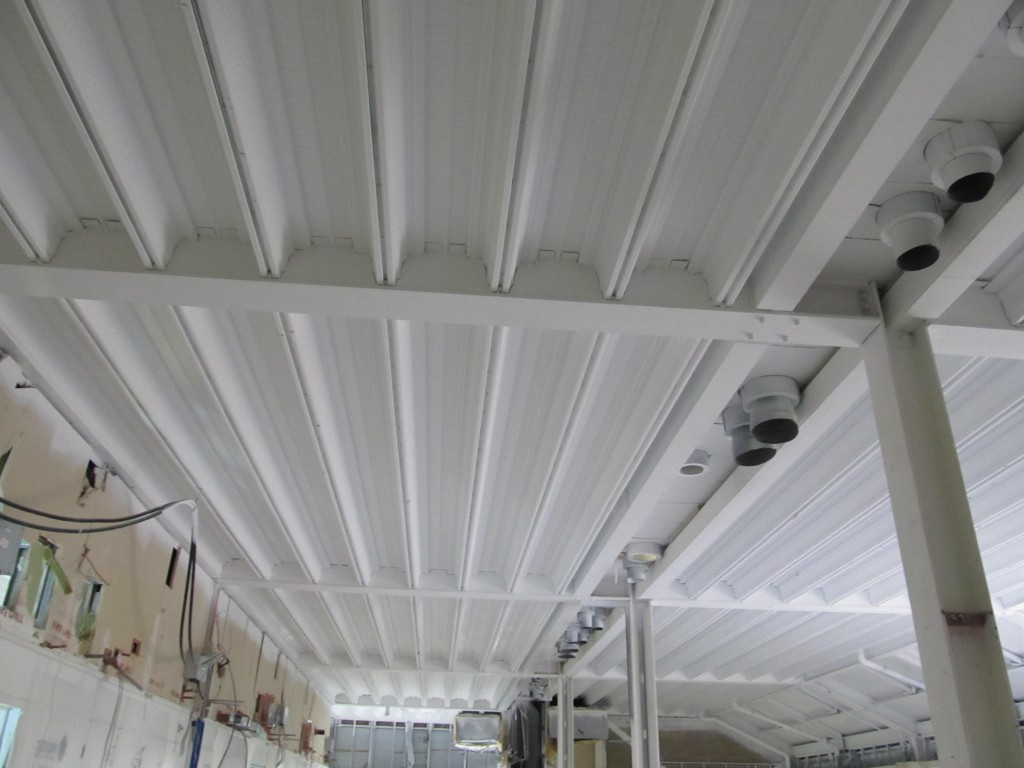 Galvanised ceiling voide after paint spraying with MSC005 Multi-Surface-Coating