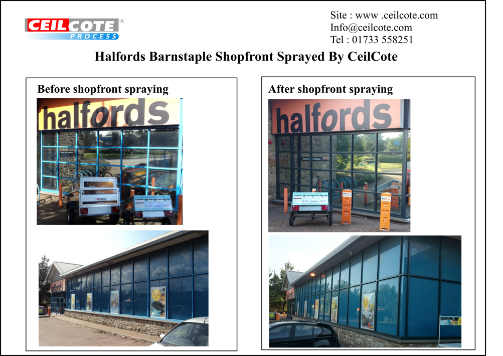 Before and after photos of ceilcote spray painting the shopfront