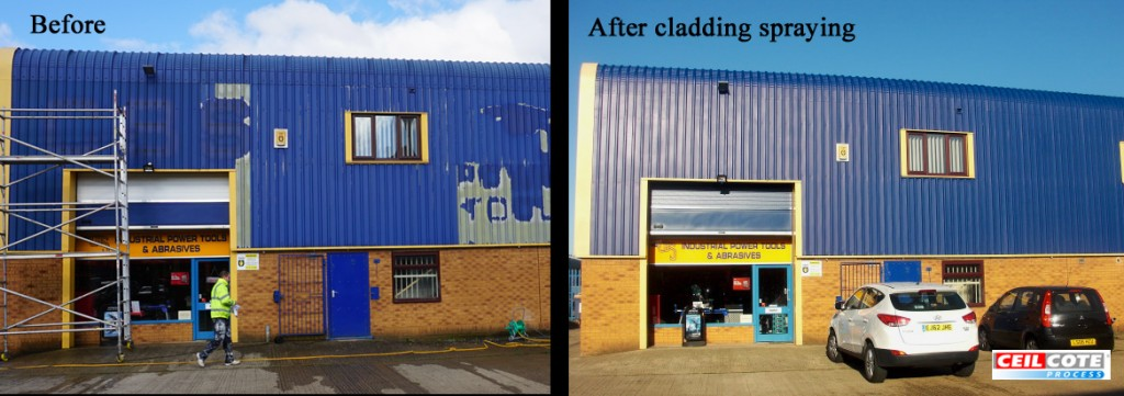 Before and after photo of cladding spraying works by Ceilcote