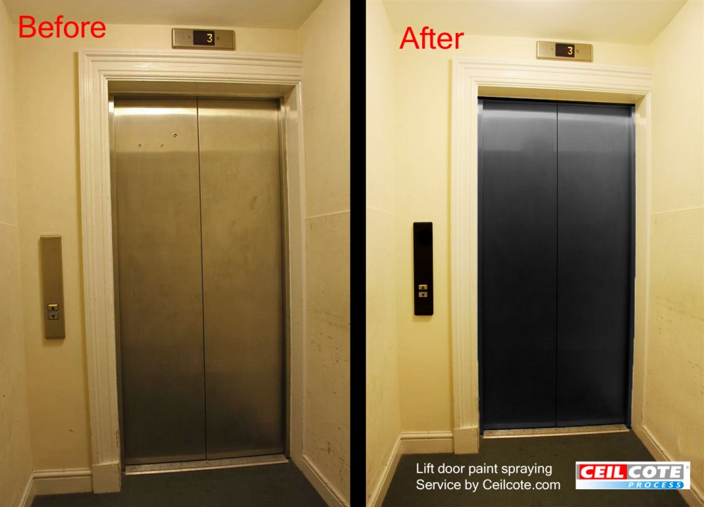 lift doors spray painted by ceilcote.com before and after photos