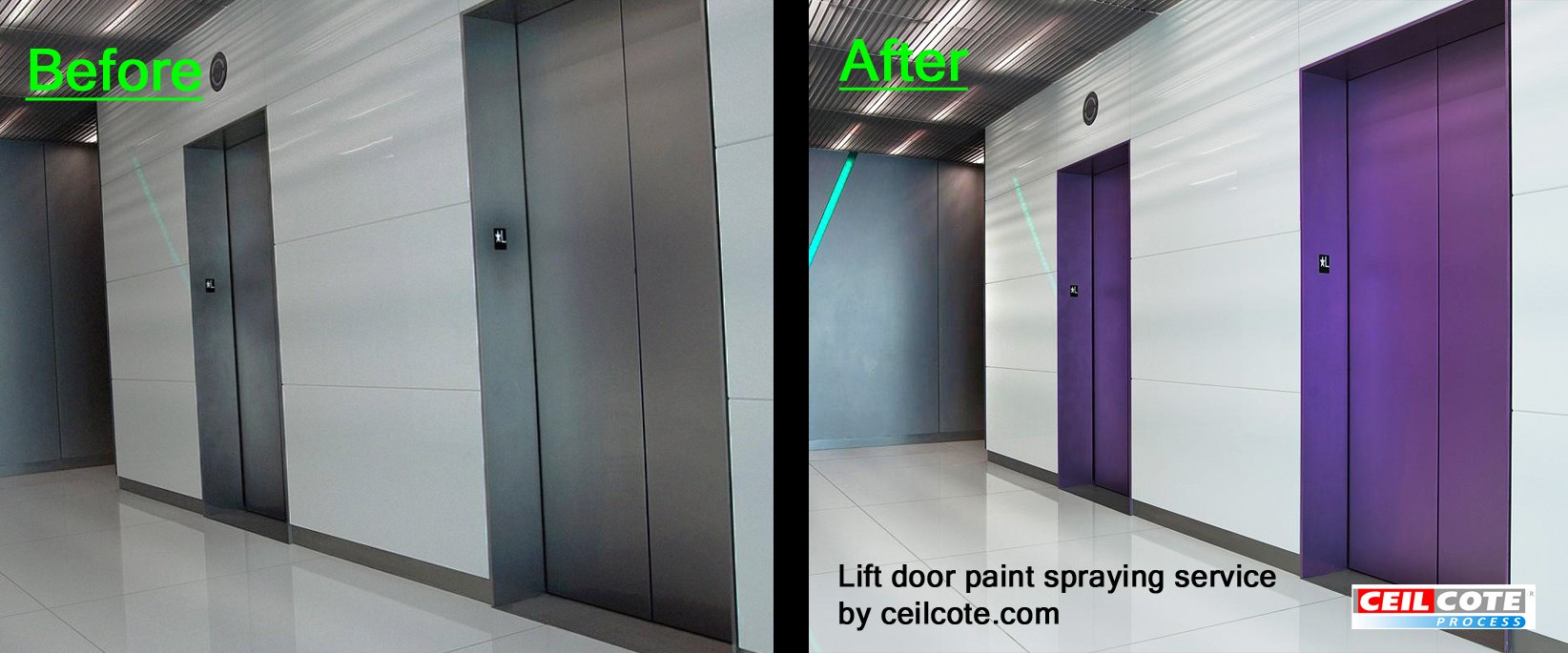 Lift doors spray painted purple by ceilcote before and after photos