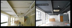 a before and after photo of a soffit spray painted by ceilcote.com